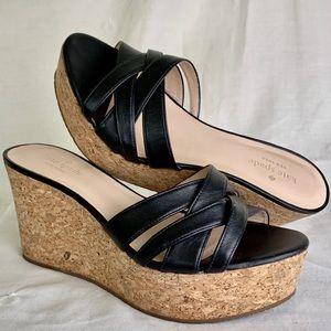 Kate Spade Talcott Cork Wedges Black Sandals